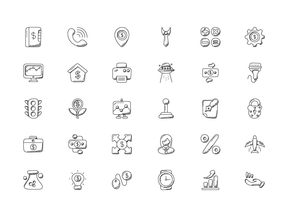 Banking and Finance Doodle Icons