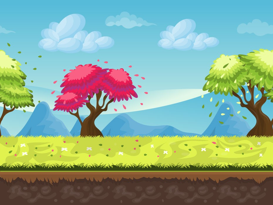 Colorful Trees Vector Illustration