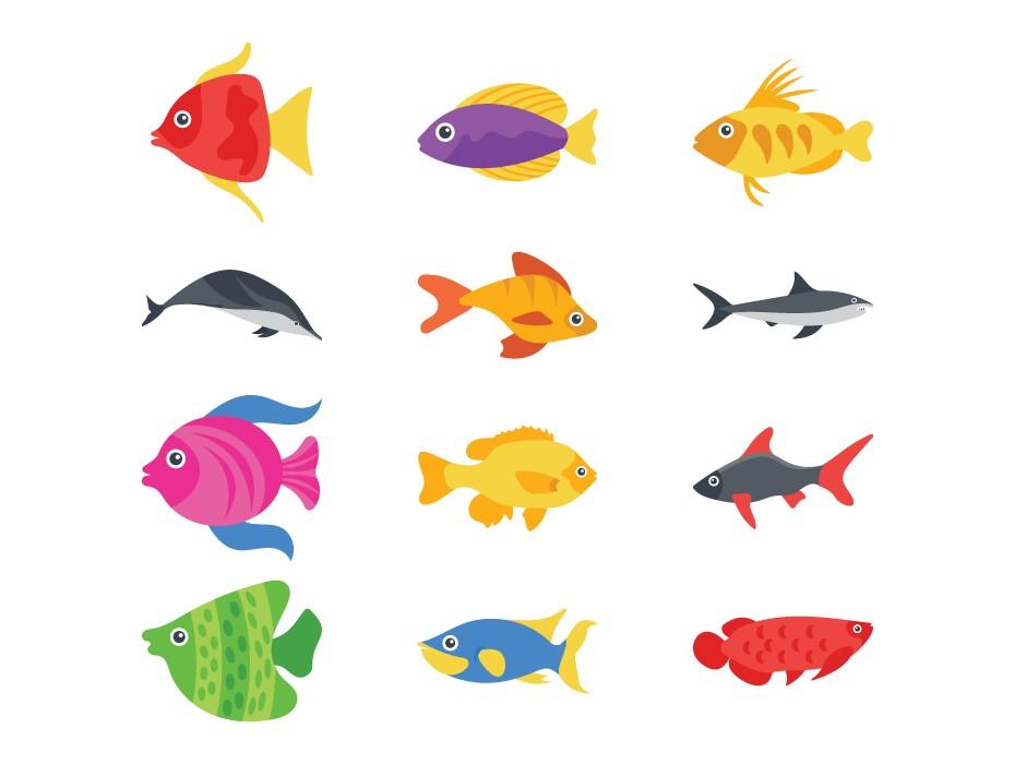 Cartoon Fish Vector Icons