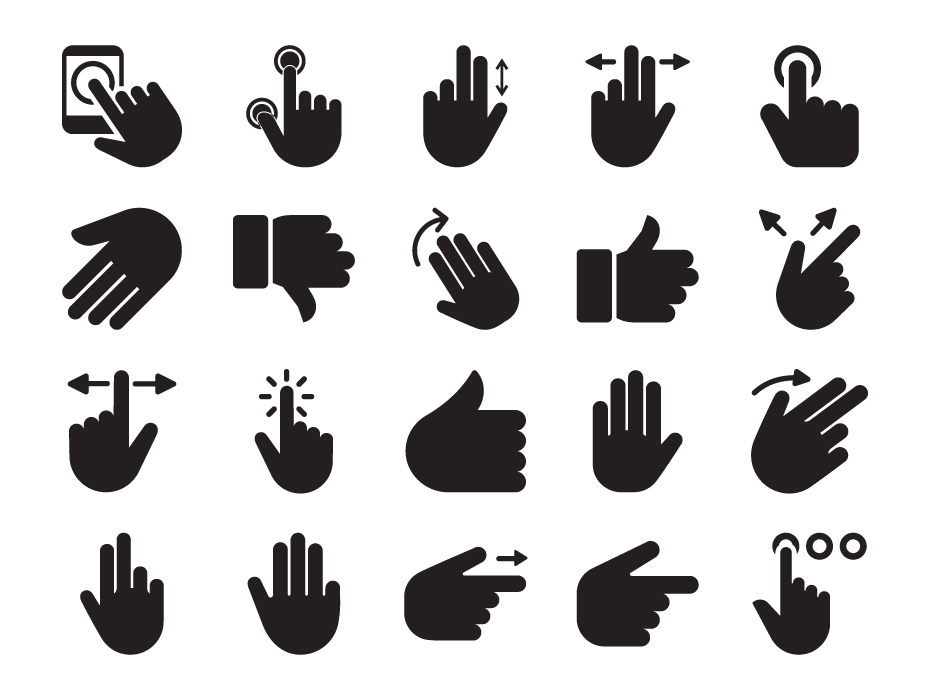 Hand Gestures Glyph Icons