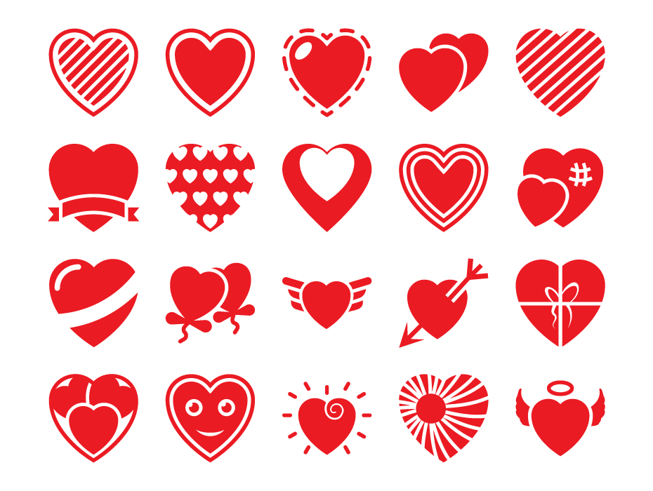Heart Flat Icon Pack