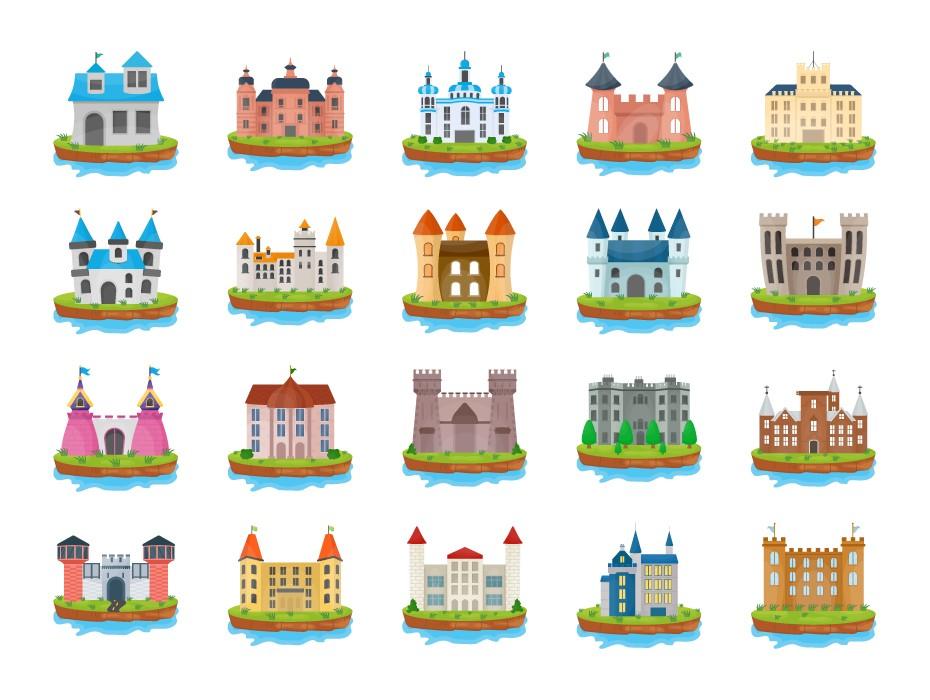 Island Castles Flat Icons