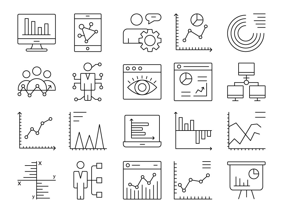 Data Visualization Line Icons