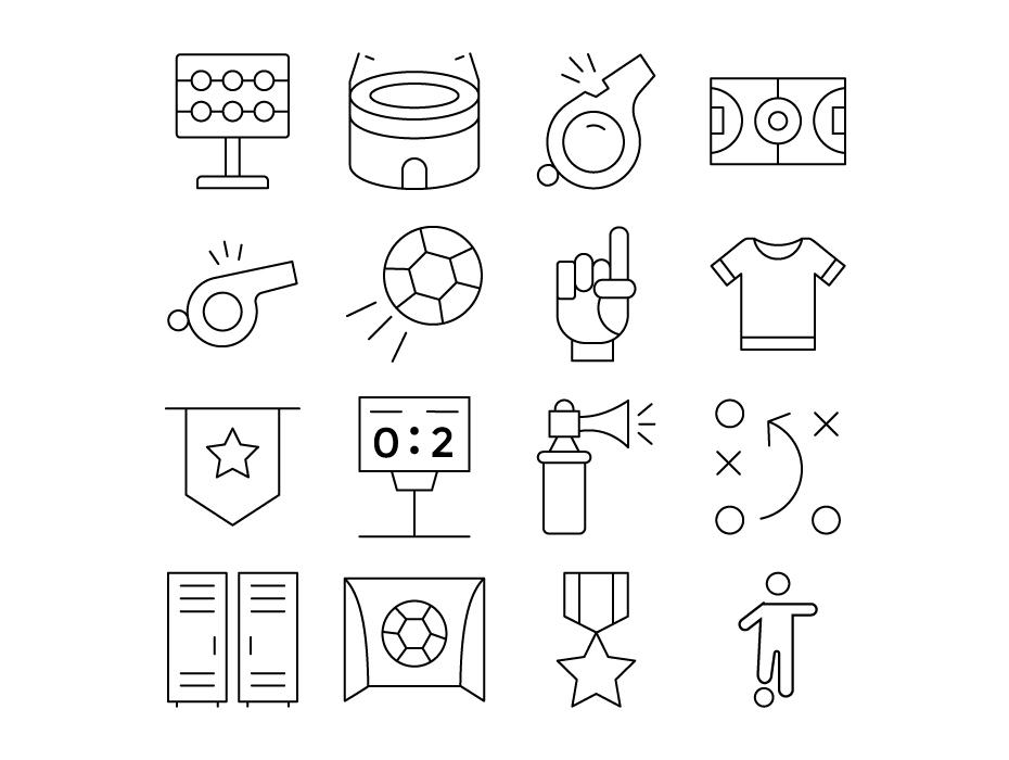 Football Line Icons