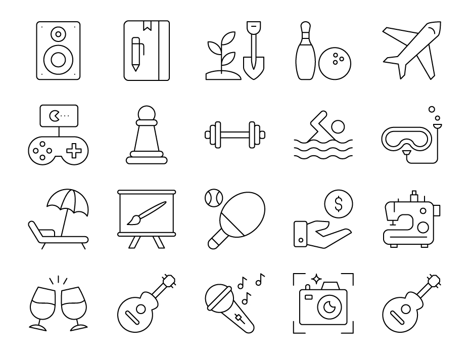 Hobbies Line Icon Set