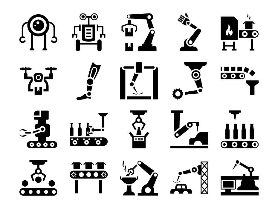 Industrial Robots Glyph Icons