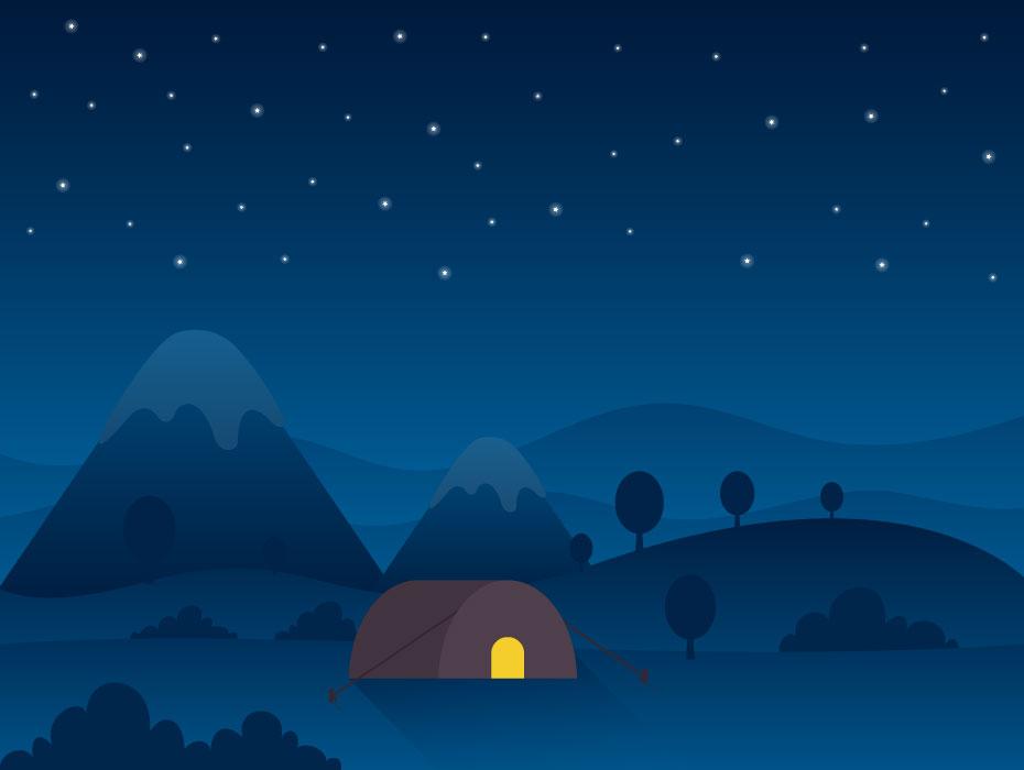 Night Camping Illustration