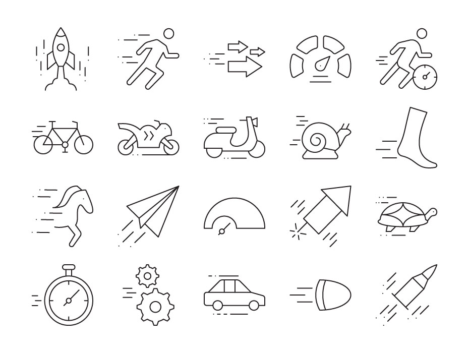 Set of Speed Related Icons