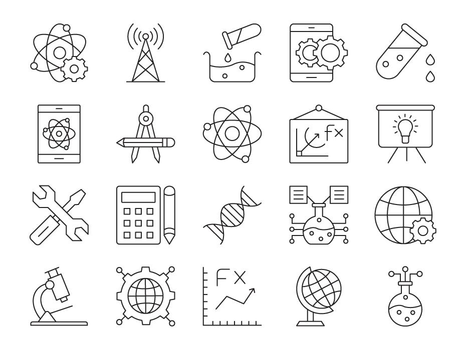 Stem Elements Icon Set