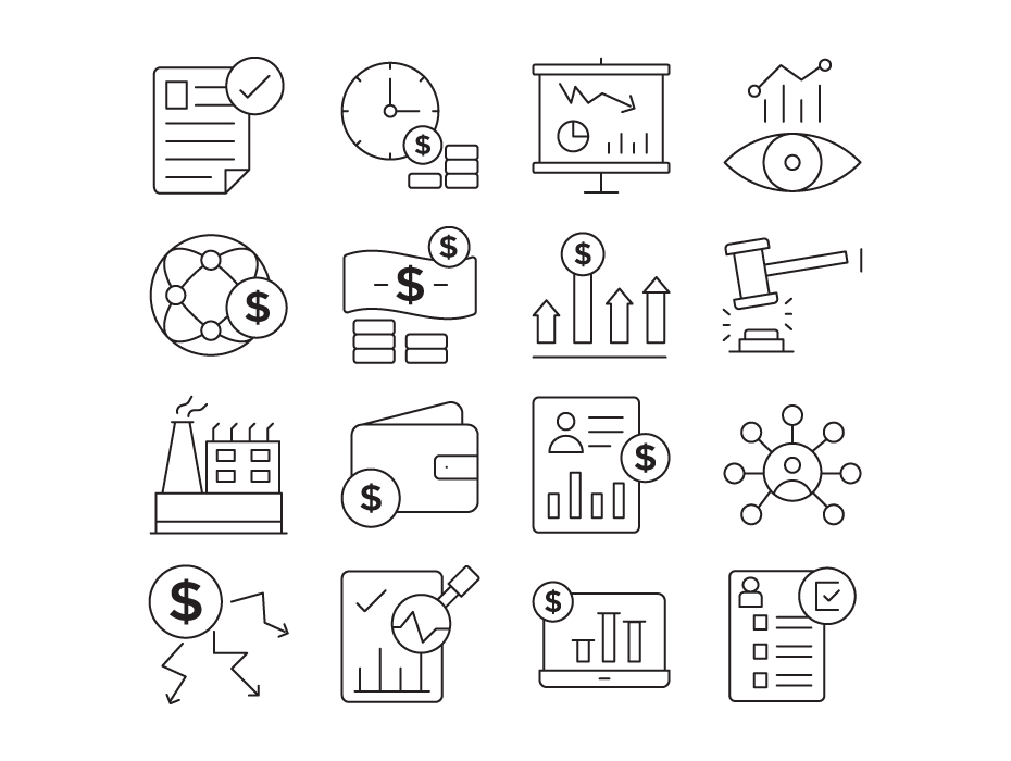 Stock Investment Line Icons