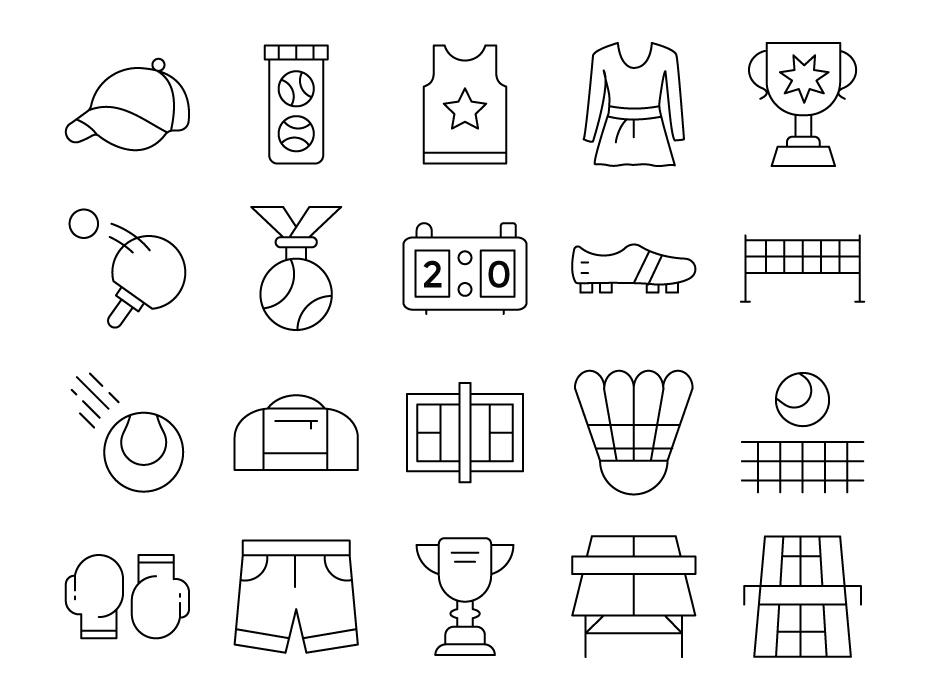 Tennis Line Icons