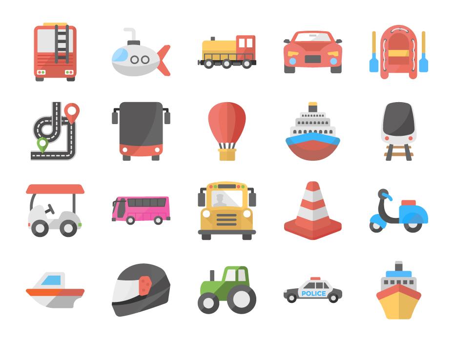 Transportation Flat Icon Pack