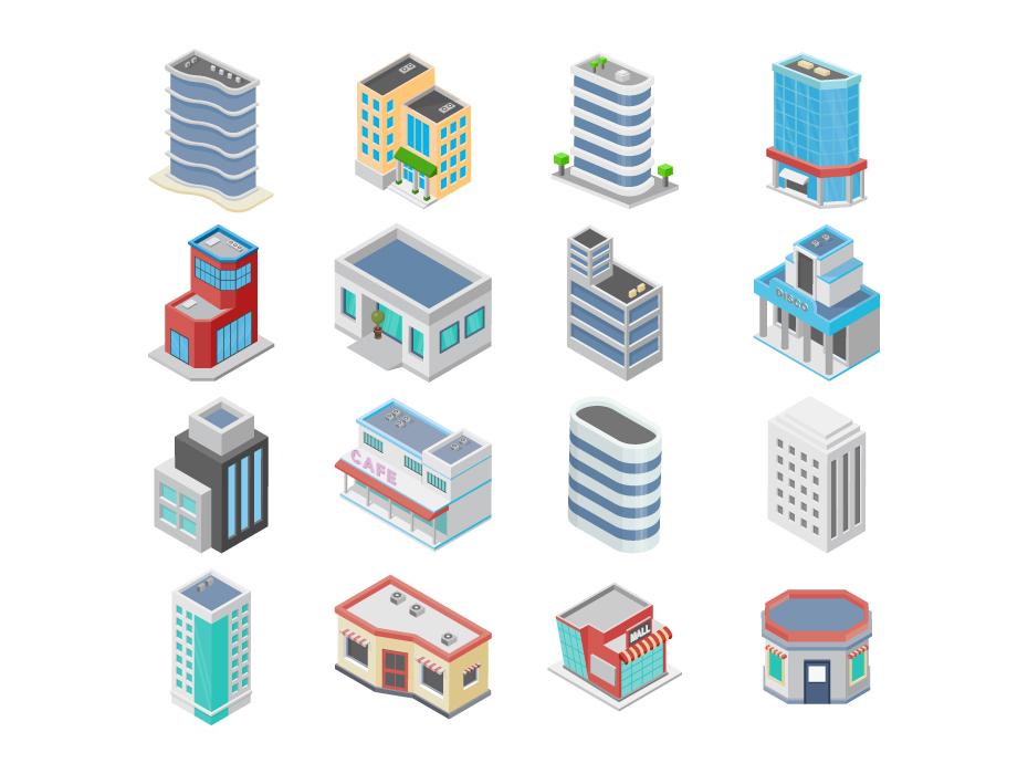 Buildings Isometric Designs