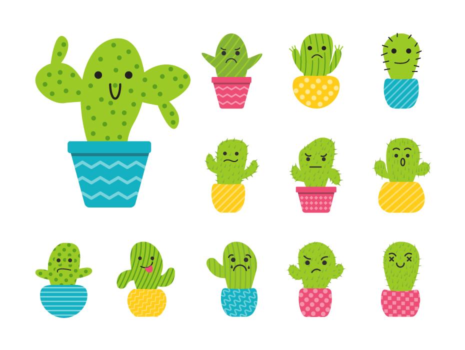 Cactus Pot Flat Icons