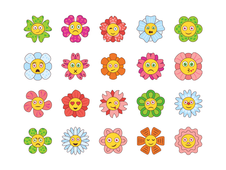 Cartoon Flowers Icons