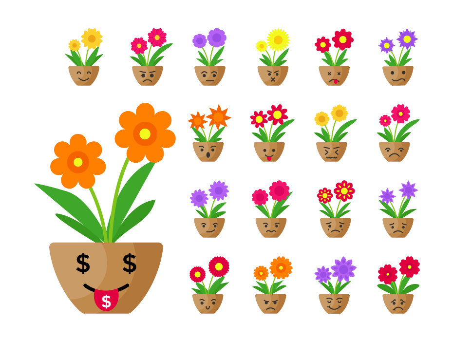 Cartoon Pot Flower Set