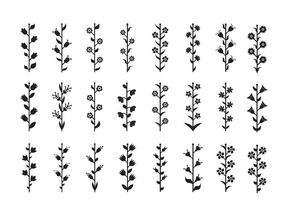 Flower Stem Glyph Icons