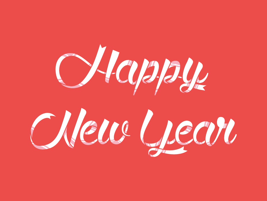 Happy New Year Typographic Illustration Free Download