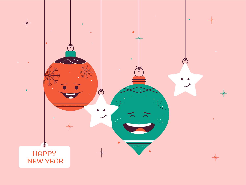 Happy New Year Decorative Cartoons Illustration