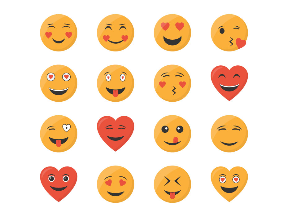 Love Emojis Flat Icons