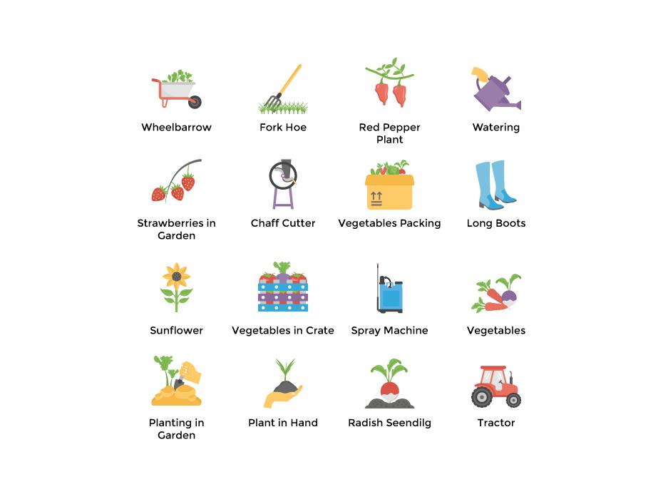 Organic Farming Flat Icons