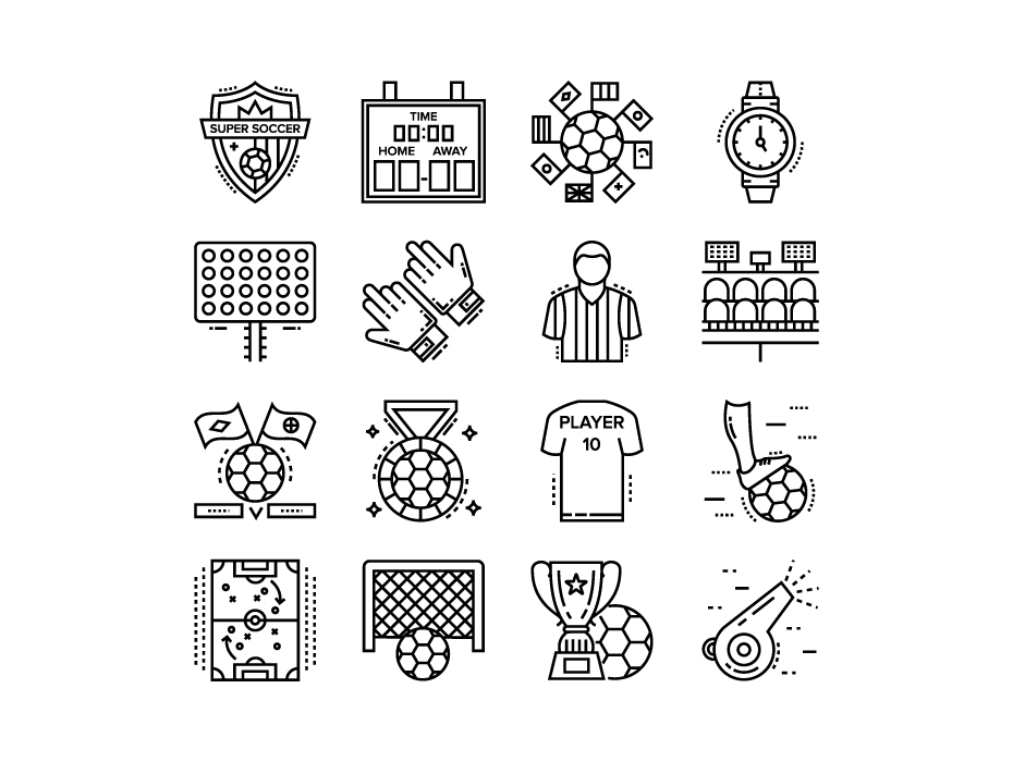 Soccer Elements Line Icons