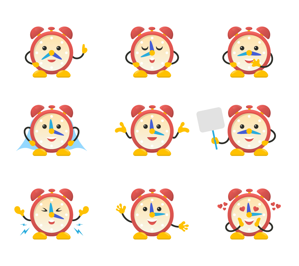 Kids Alarm Clock Cartoon Vector