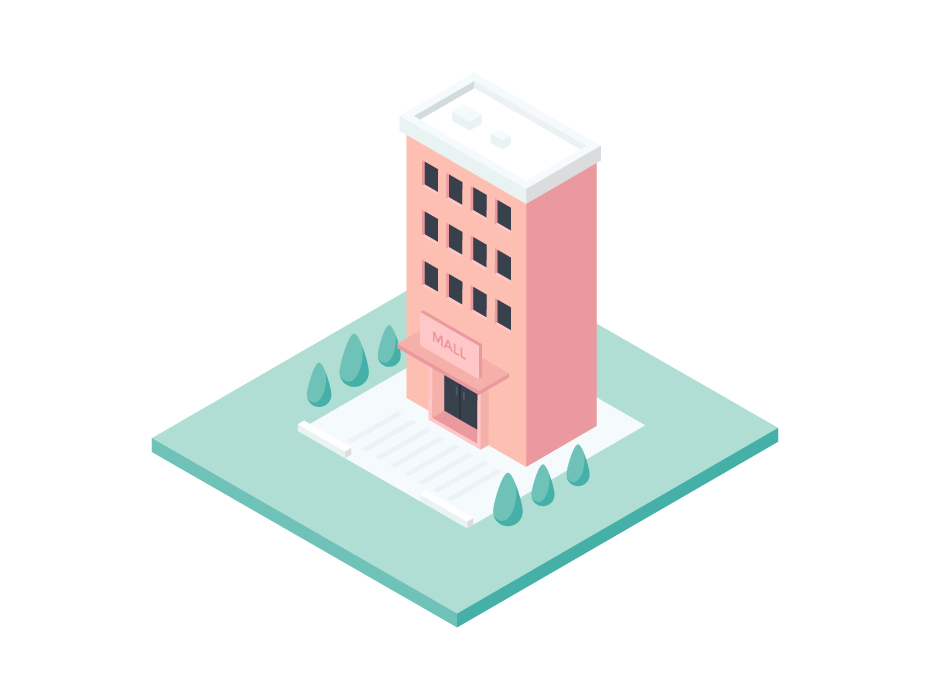Shopping Mall Isometric Vector