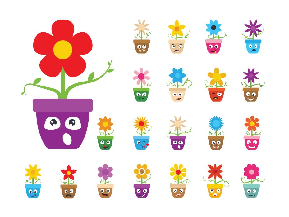 Pack of Cartoon Flowers