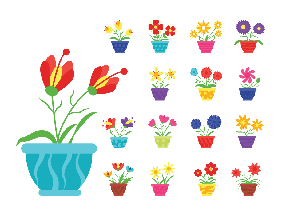 Pot Flower Icons