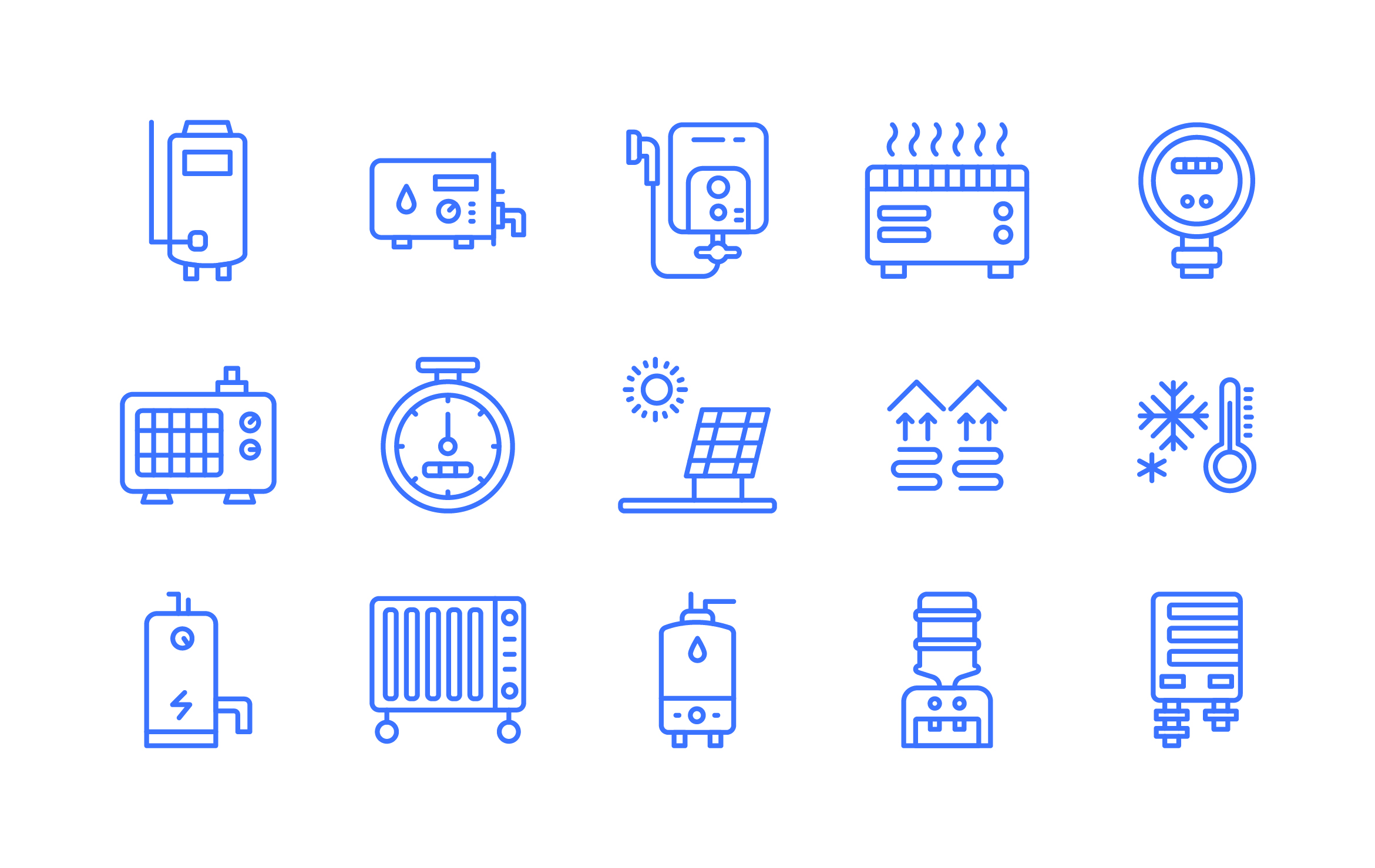 House Heating Equipment Line Icons