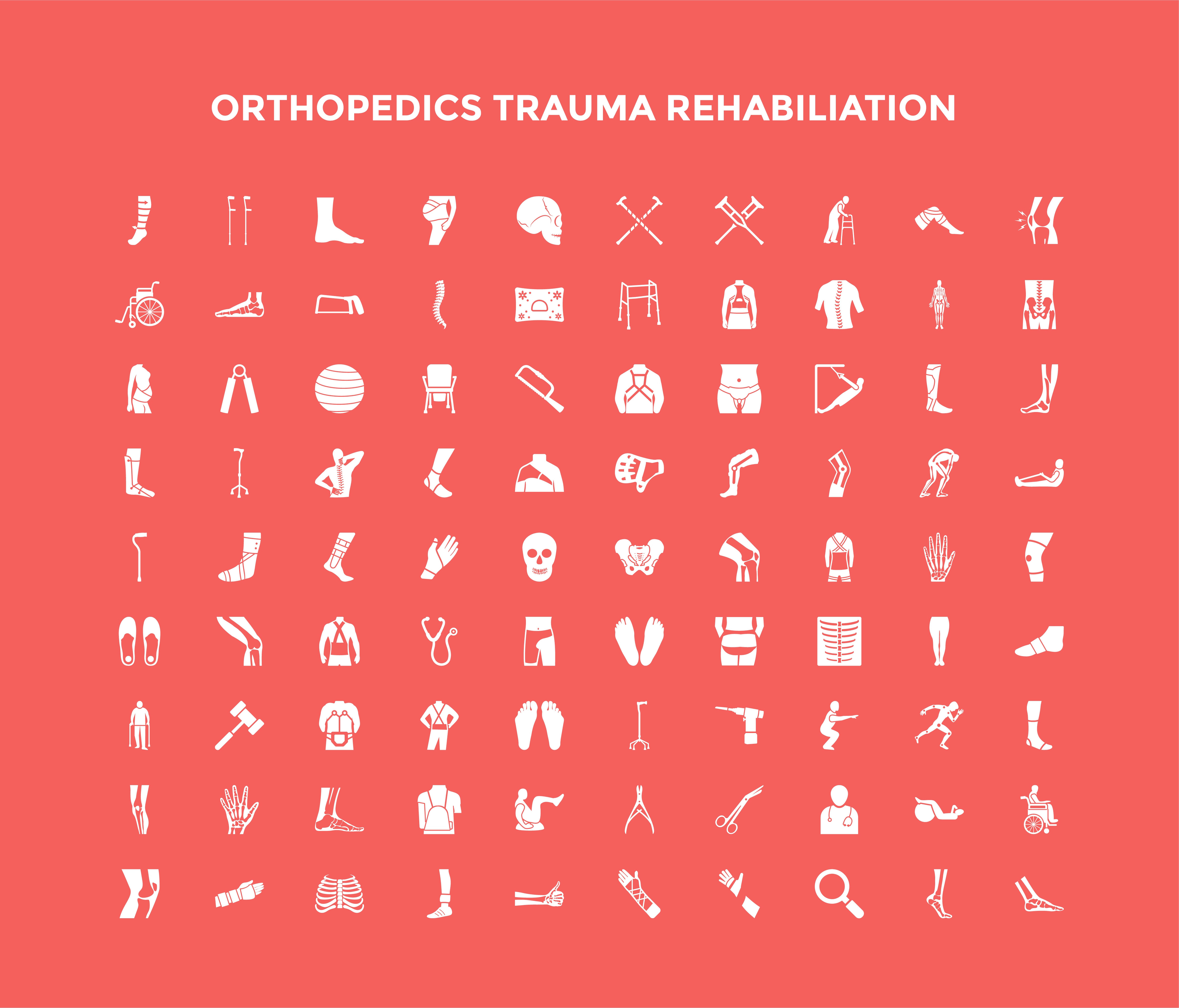 Orthopedic Trauma Rehabilitation Icon Set