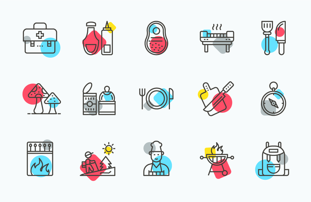 Outdoor Cooking Line Icons Pack