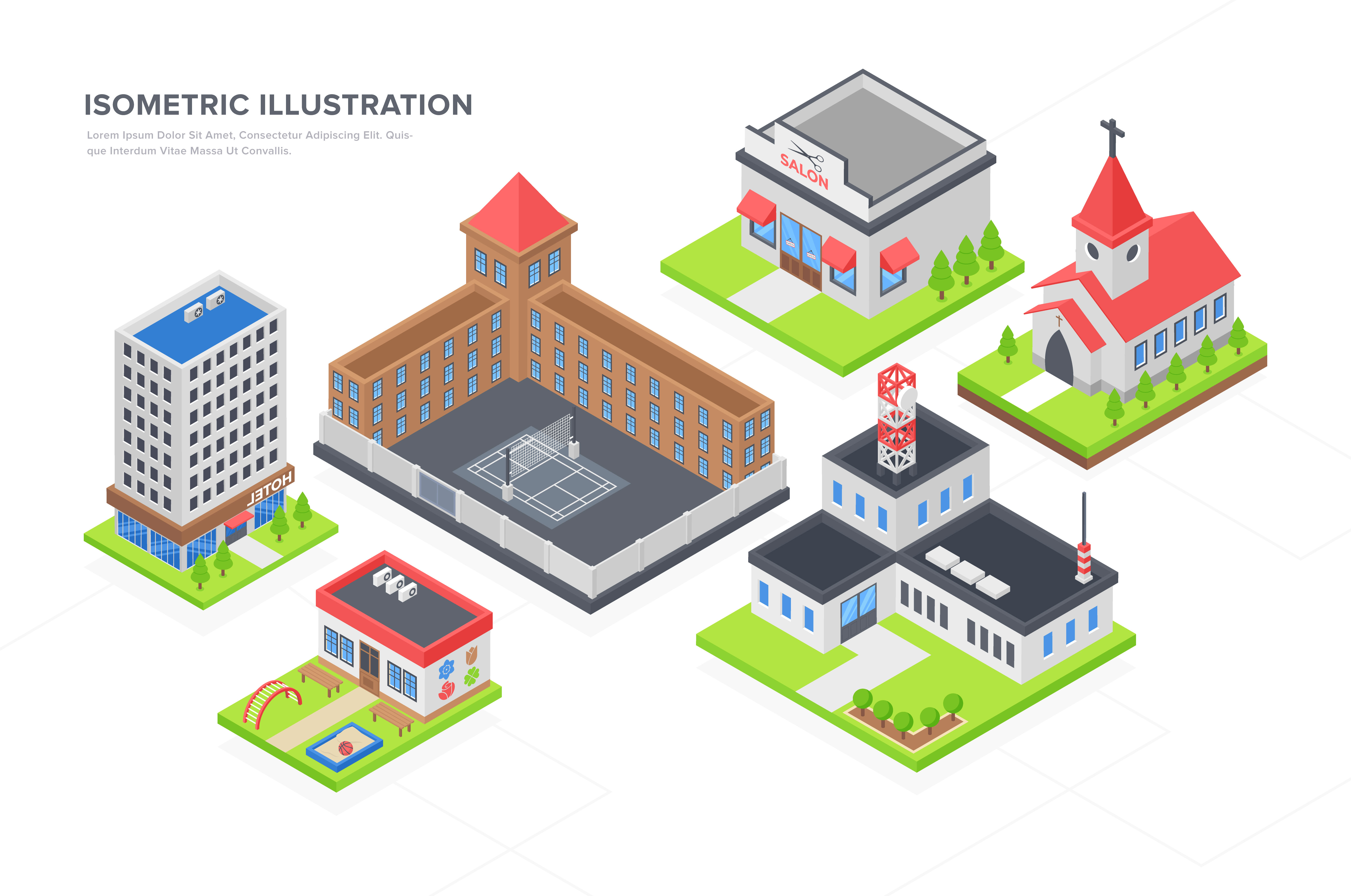 Buildings Isometric Vectors