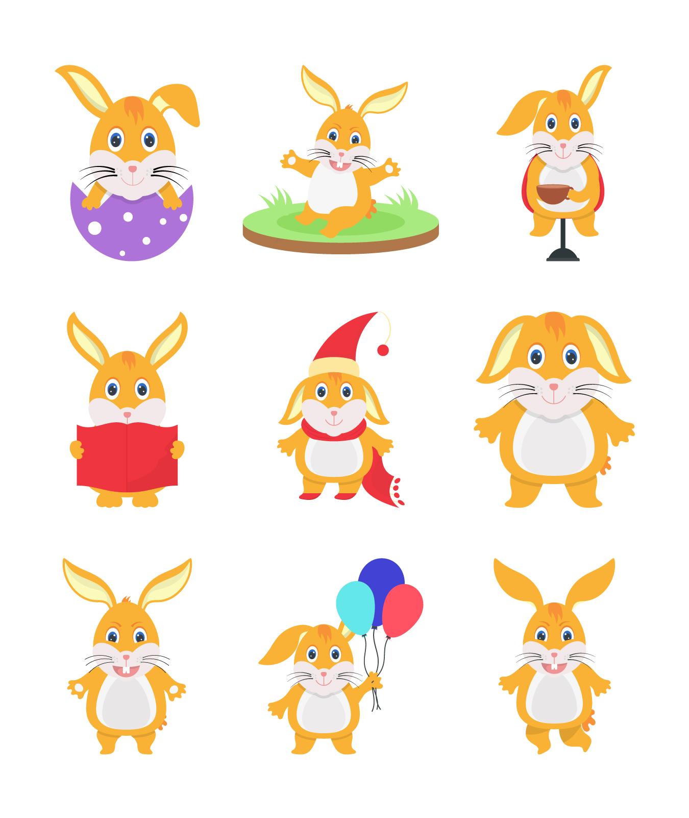 Cute Bunny Rabbits Set