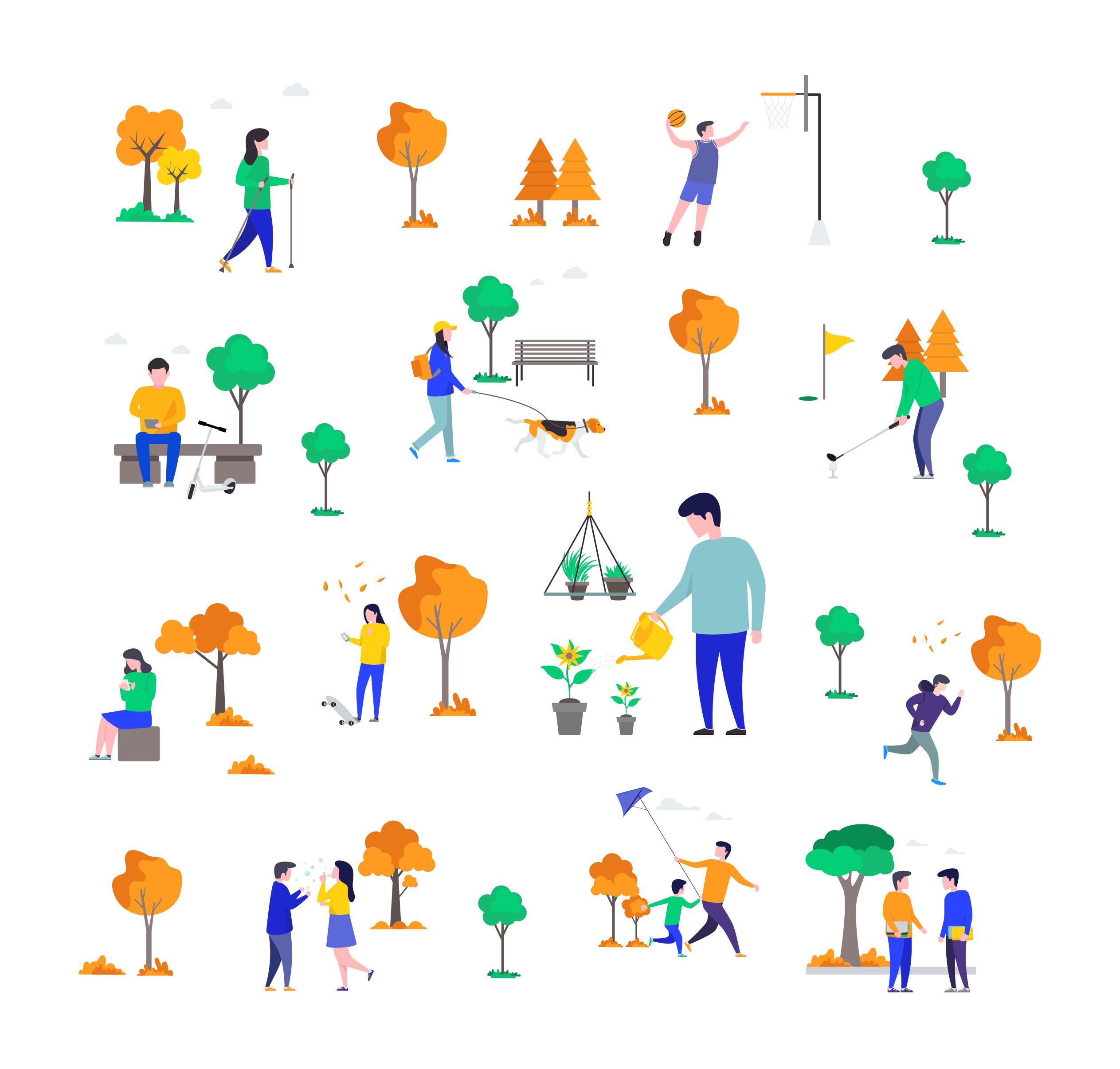 Human Activities Illustrations Set