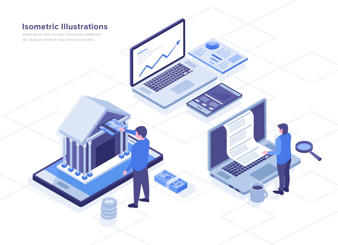 Online Banking Isometric Vector