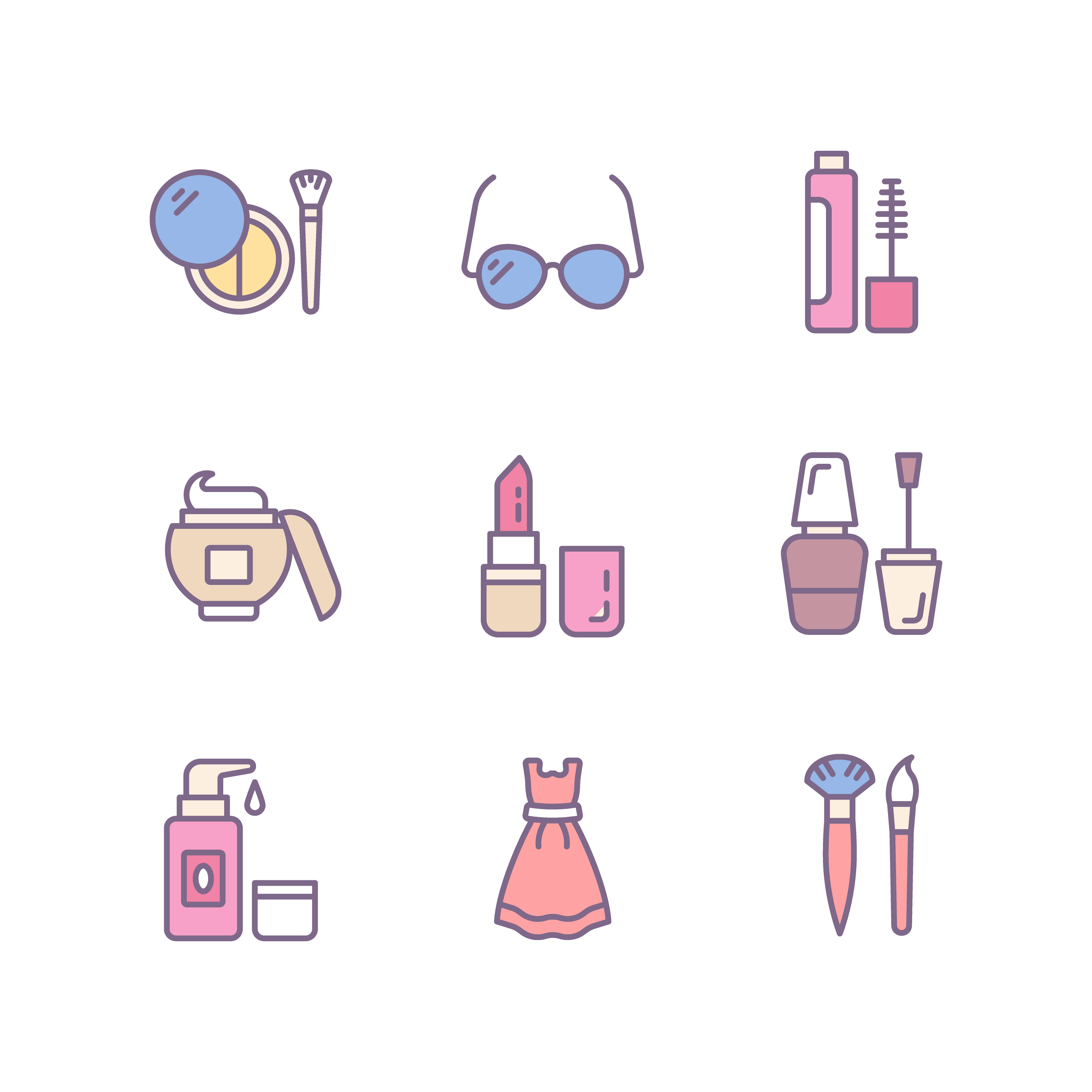 Cosmetics Flat Icons Pack