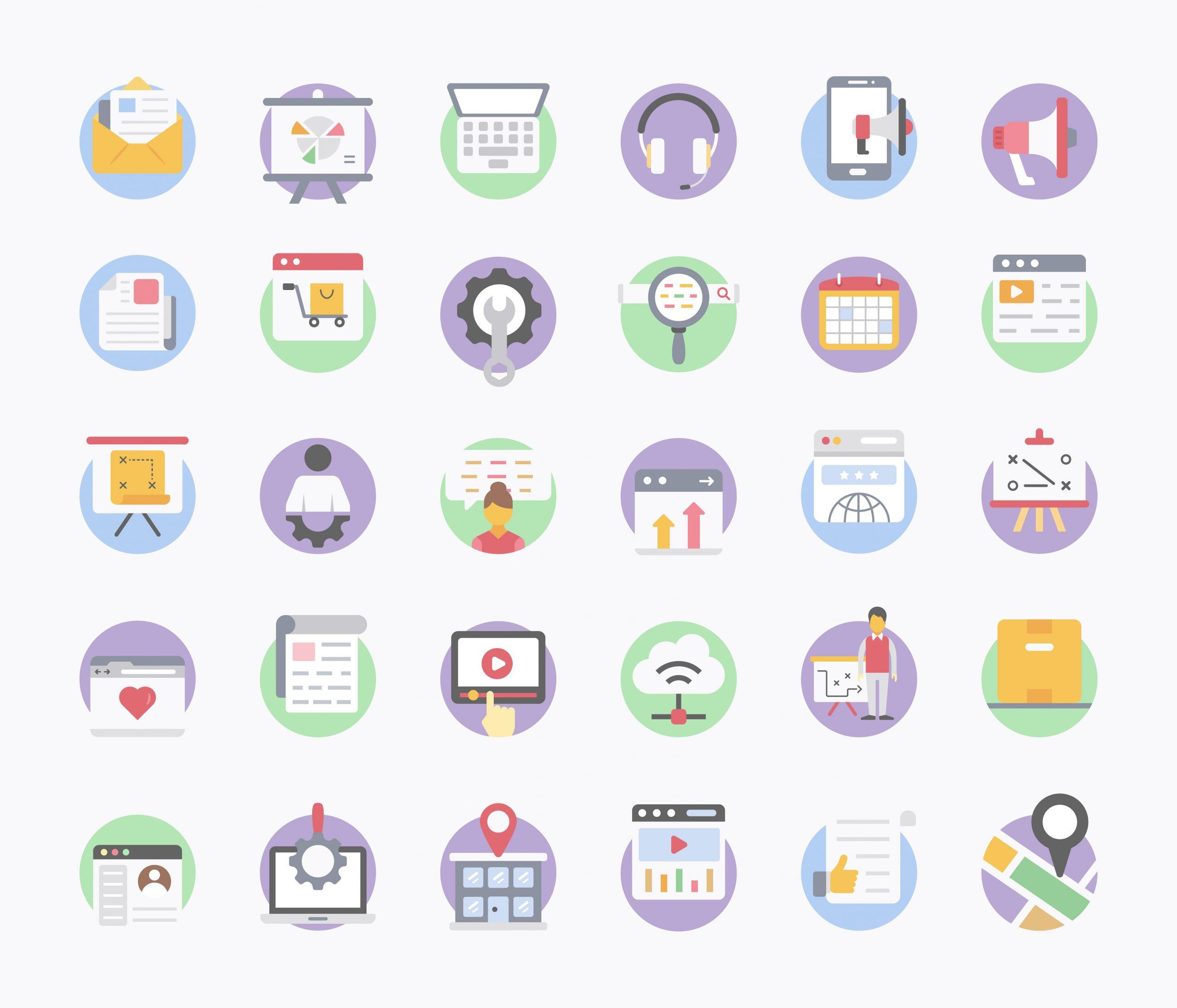 Digital Marketing Flat Icons