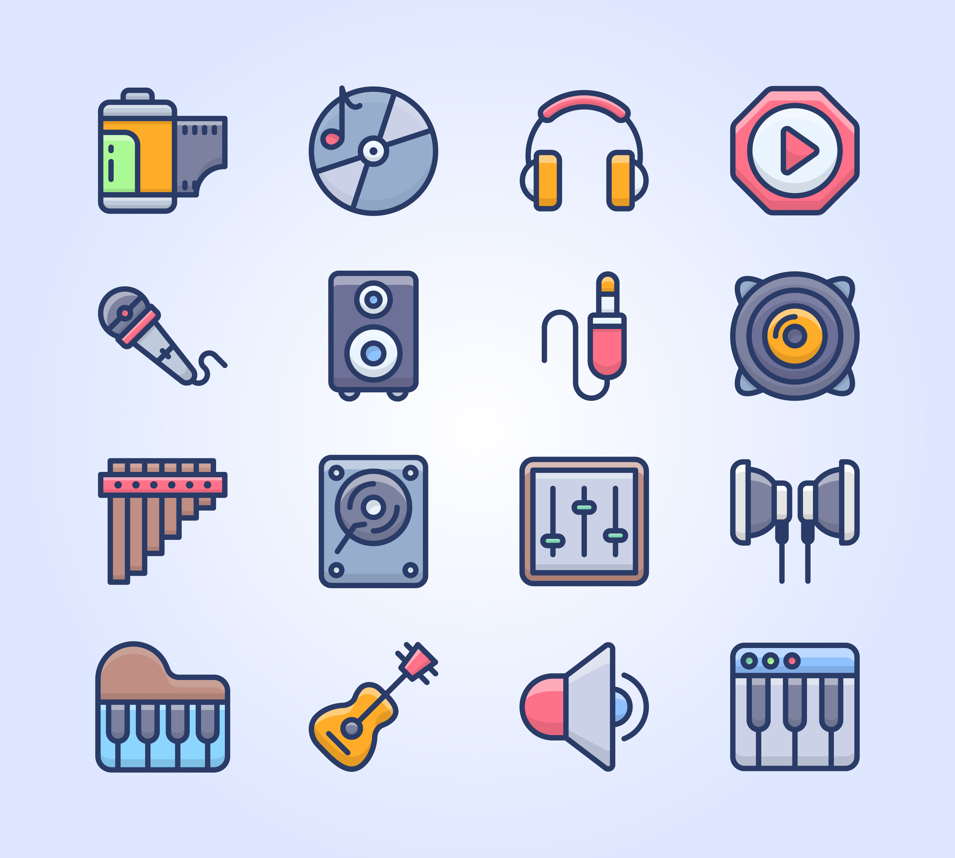 Music Equipment Flat Icons