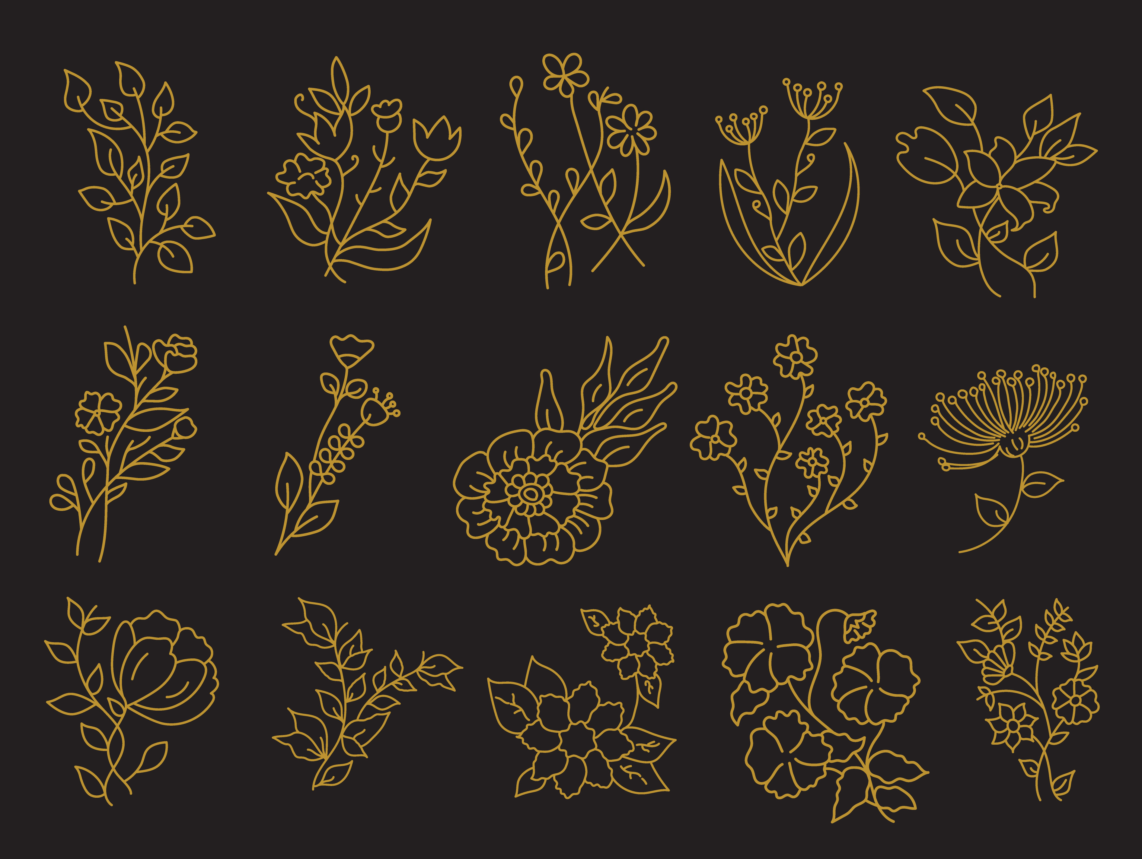 Pack of Floral Elements