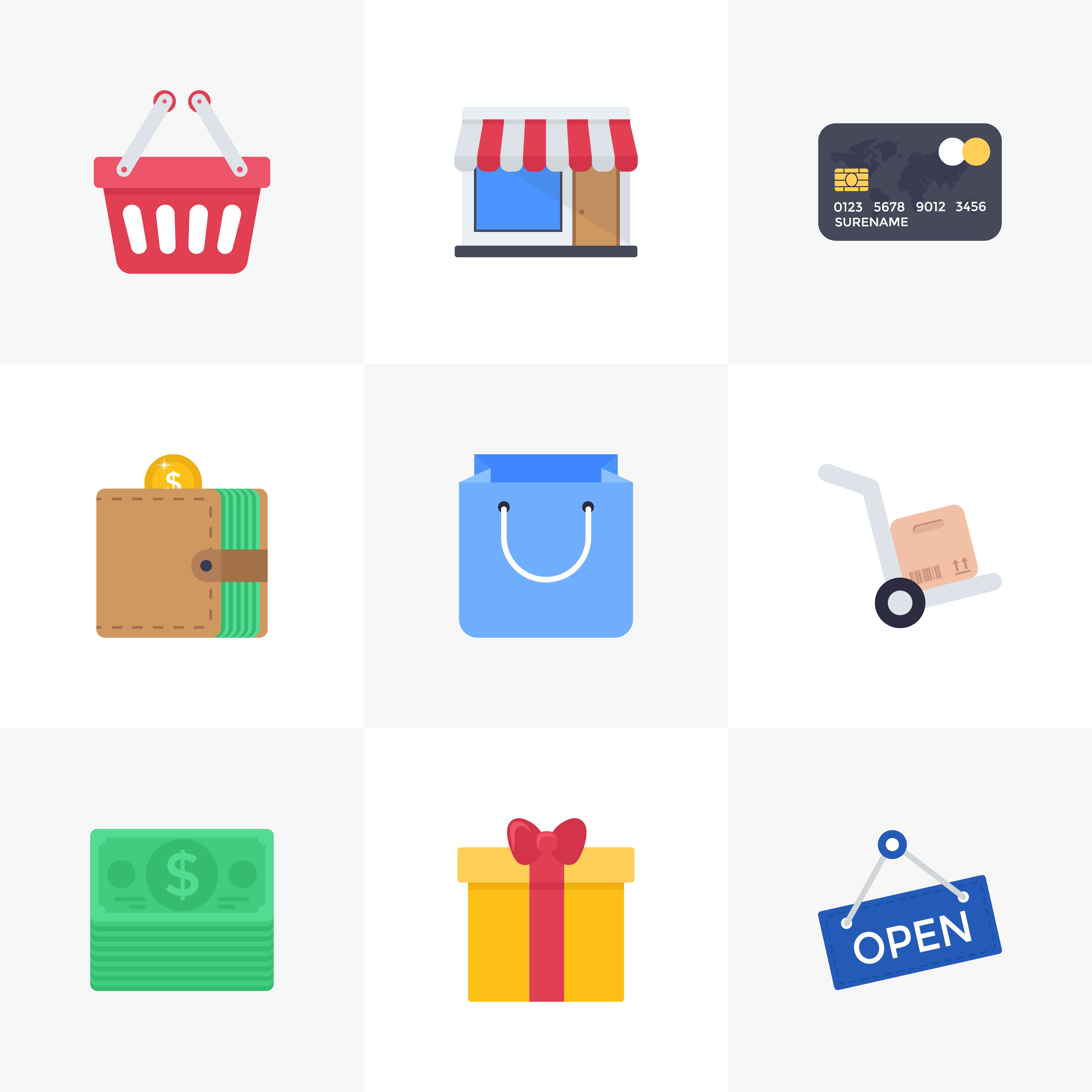 Shopping Flat Icons Download