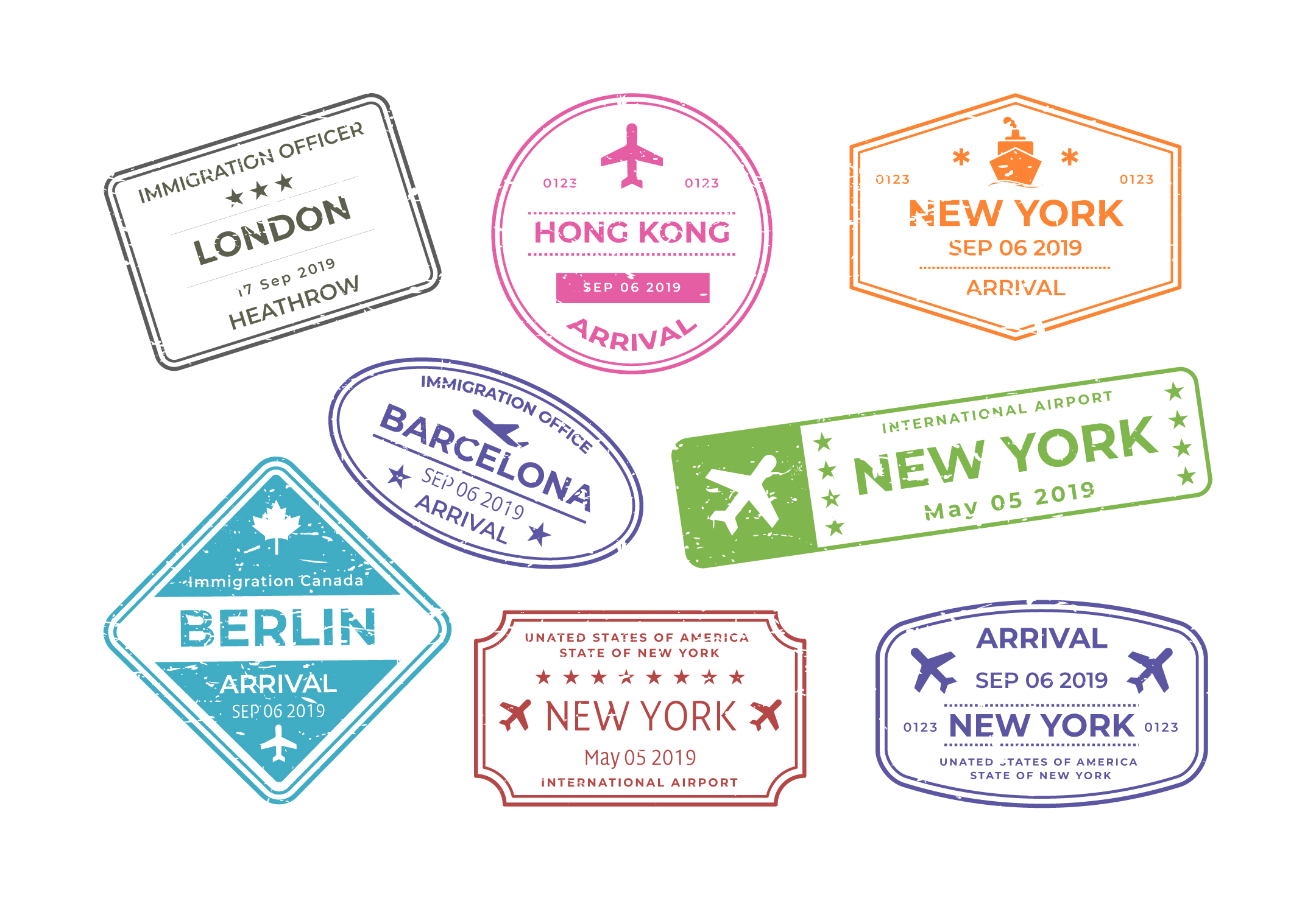 Travel Stamps Vector Download