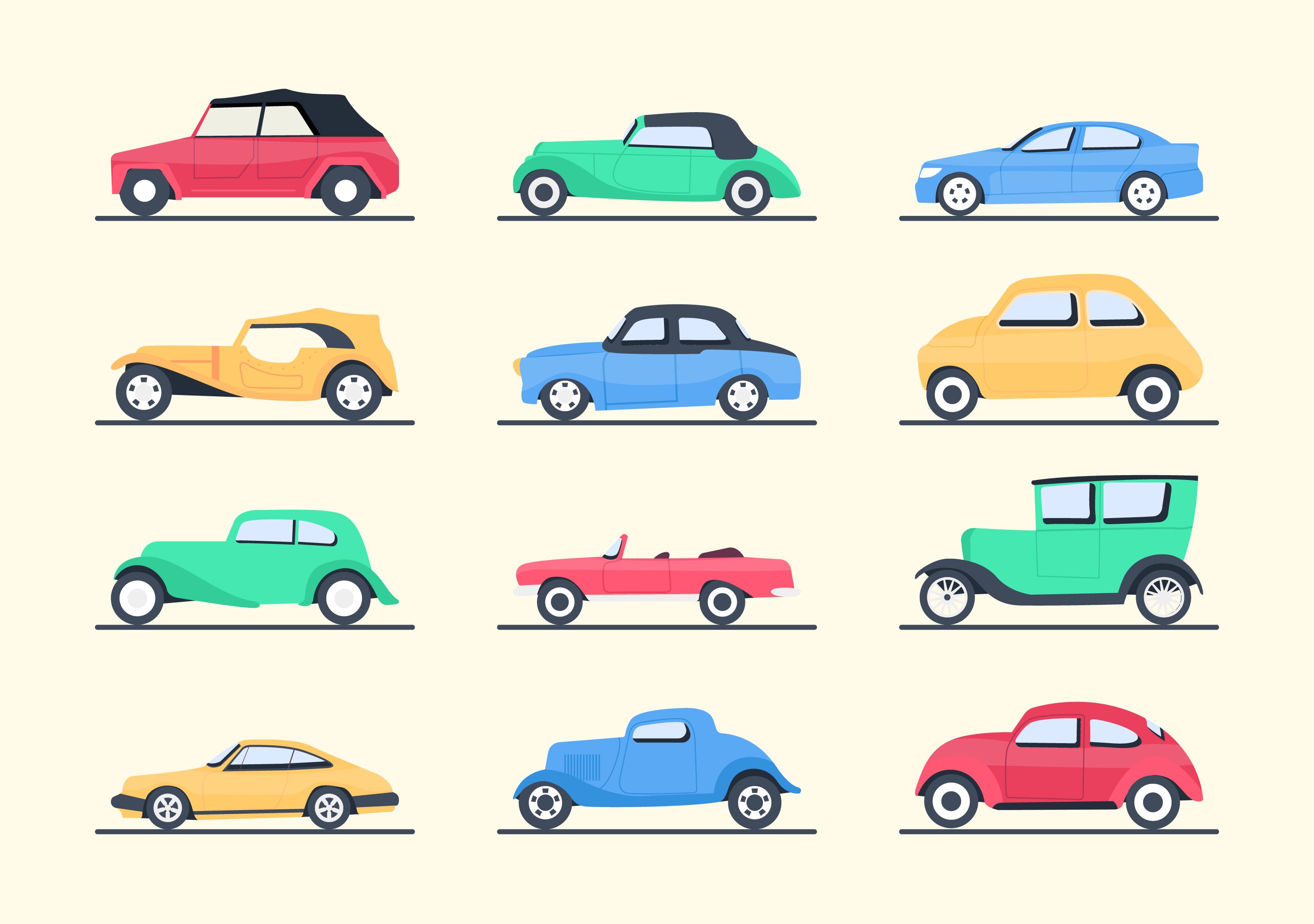 Types of Cars Vector Download