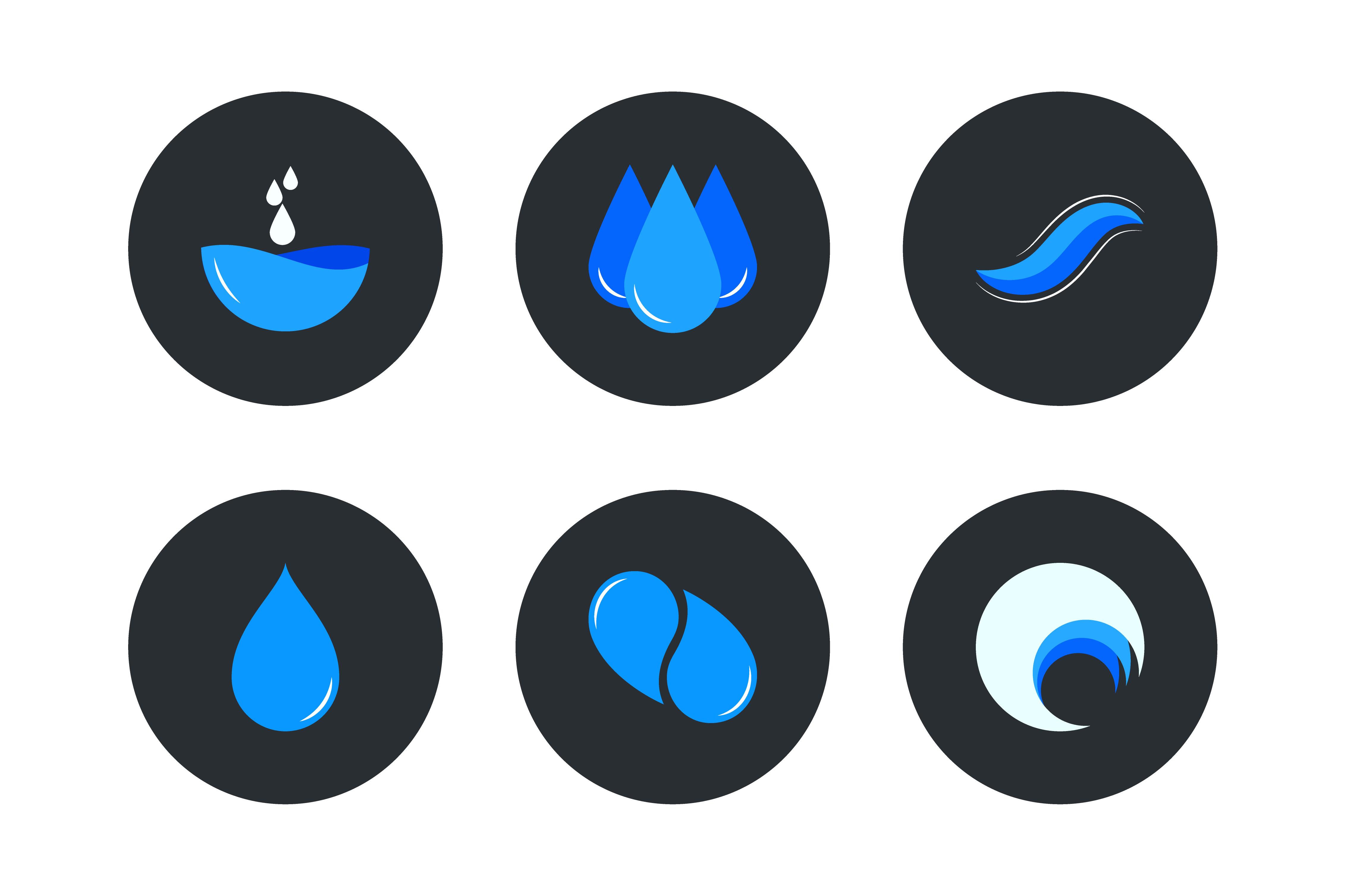 Water Logos Vector Set