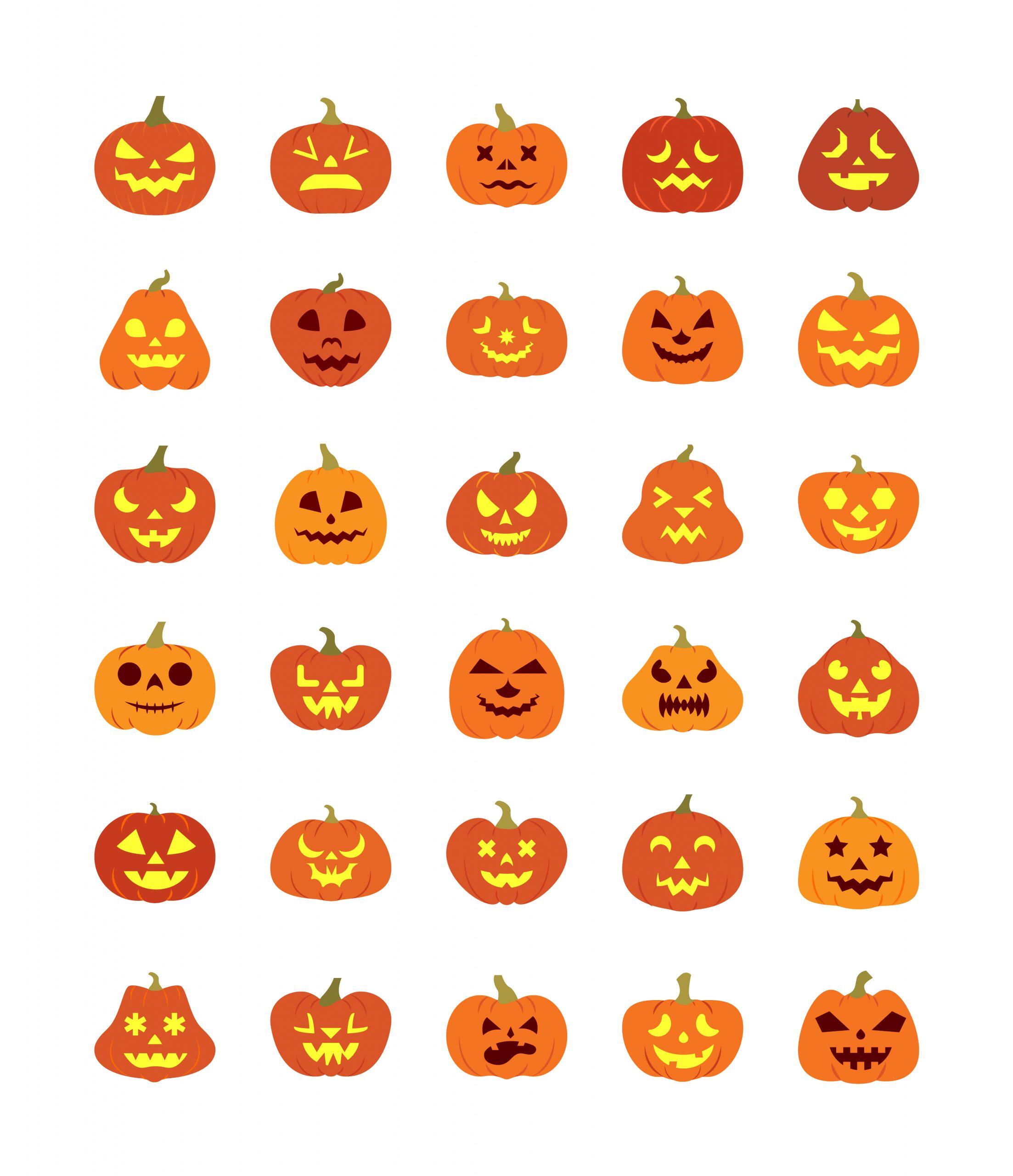 Scary Halloween Pumpkins Set