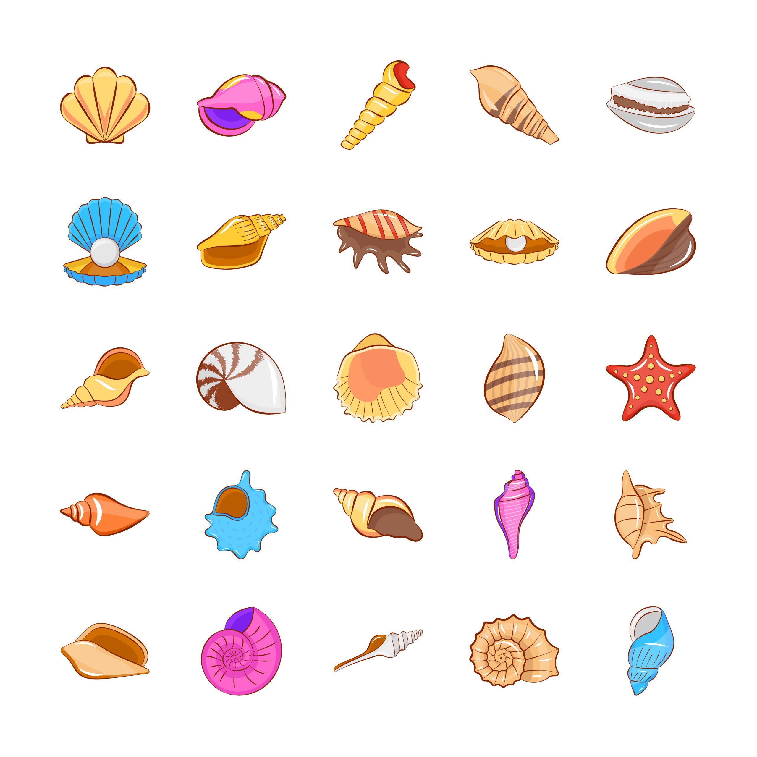 Set of Shells Flat Icons