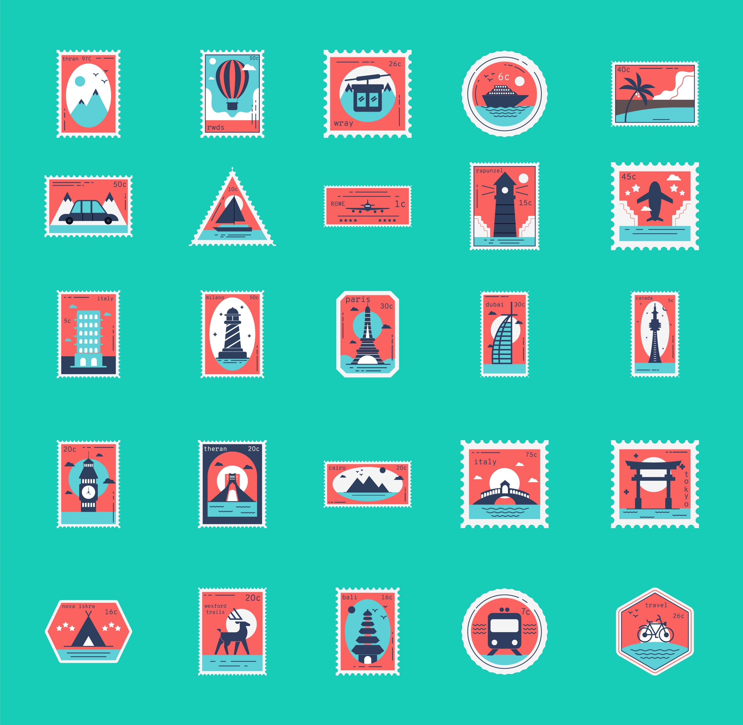 Free Travel Stamps Vector