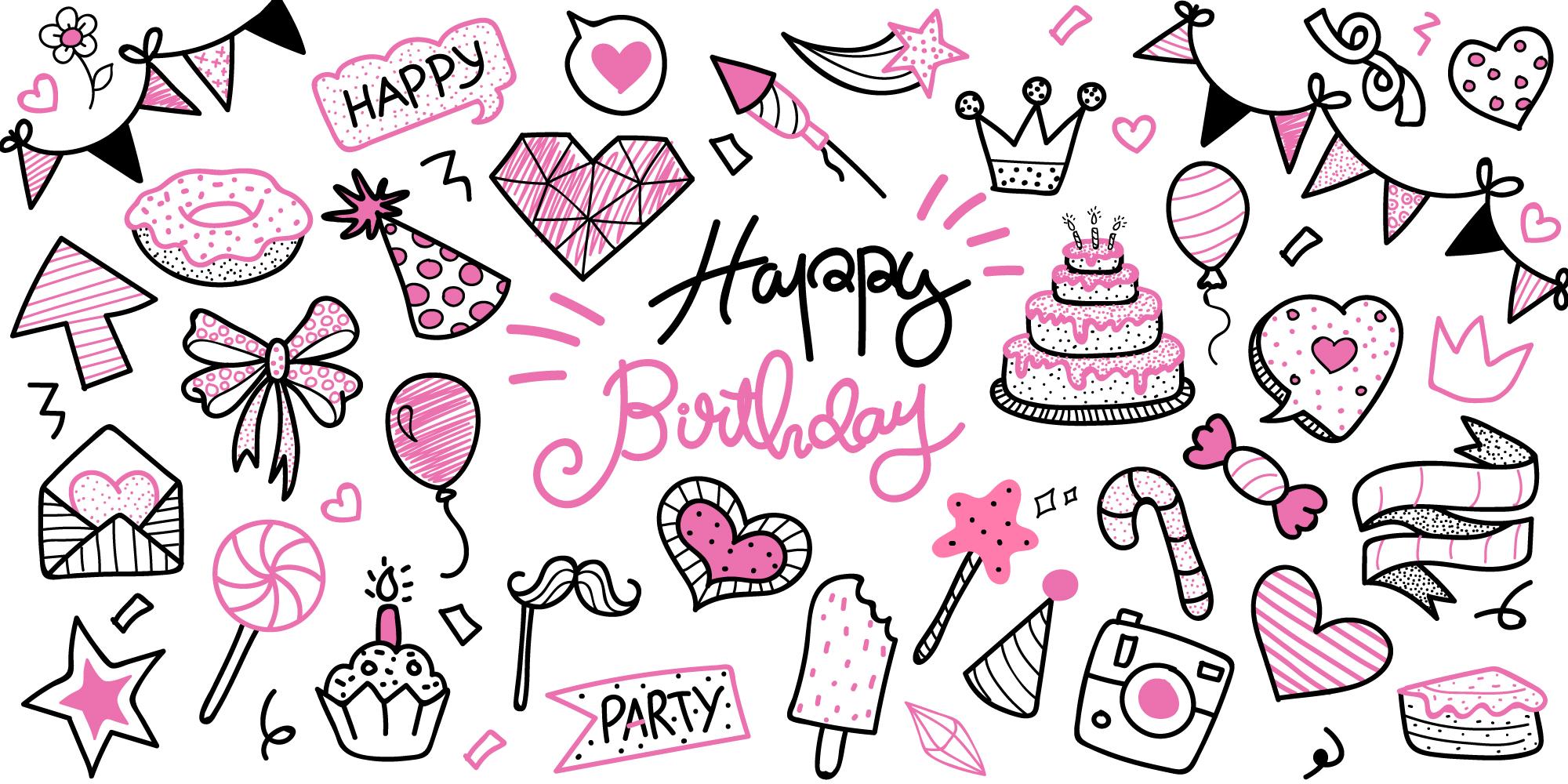 Birthday Doodle Free Vector Art