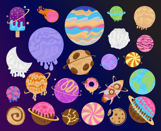 Galaxy Candy Planet Vector Image